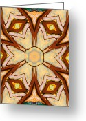Star Ceramics Greeting Cards - Geometric Stained Glass Abstract Greeting Card by Linda Phelps