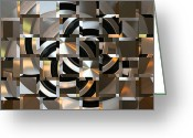 Award Winning Digital Art Greeting Cards - Geometrical Illusion Greeting Card by Monika Wright