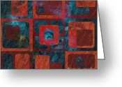Geometric Digital Art Greeting Cards - Geomix 02 - sp07c03b Greeting Card by Variance Collections