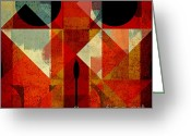 Geometric Digital Art Greeting Cards - Geomix-04 - 39c3at22g Greeting Card by Variance Collections