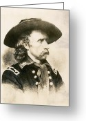 American Generals Greeting Cards - George Armstrong Custer  Greeting Card by War Is Hell Store