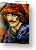 Ringo Starr Greeting Cards - George Harrison Greeting Card by Carole Spandau