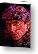 George Harrison Painting Greeting Cards - George Harrison Greeting Card by David Lloyd Glover