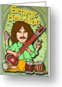 Paul Mccartney Greeting Cards - George Harrison Greeting Card by John Goldacker
