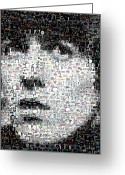 The Beatles Mixed Media Greeting Cards - George Harrison Mosaic Greeting Card by Paul Van Scott