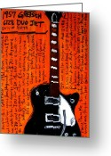 Iconic Guitars Greeting Cards - George Harrisons Gretsch Greeting Card by Karl Haglund