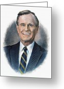 George Herbert Walker Greeting Cards - George H.w. Bush (1924-    ) Greeting Card by Granger