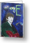 The Beatles Mixed Media Greeting Cards - George Greeting Card by Mike  Mitch