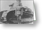 World War One Greeting Cards - George S. Patton During World War One  Greeting Card by War Is Hell Store