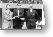 Ty Cobb Greeting Cards - George Sisler - Babe Ruth and Ty Cobb - Baseball Legends Greeting Card by International  Images