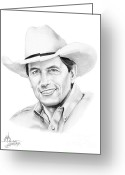 Famous People Drawings Greeting Cards - George Straight Greeting Card by Murphy Elliott