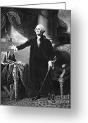 1732 Greeting Cards - George Washington, 1st American Greeting Card by Omikron
