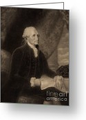 1732 Greeting Cards - George Washington, 1st American Greeting Card by Photo Researchers