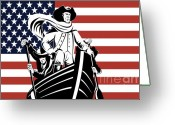 Stars And Stripes.   Greeting Cards - George Washington Greeting Card by Aloysius Patrimonio
