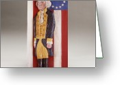 Woodworking Reliefs Greeting Cards - George Washington and the 13 Stars Greeting Card by James Neill