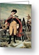 Battleground Greeting Cards - George Washington at Dorchester Heights Greeting Card by Emanuel Gottlieb Leutze