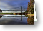 Gw Bridge Greeting Cards - George Washington Bridge Reflections Greeting Card by Dave Storym