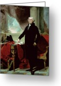 Standing Painting Greeting Cards - George Washington Greeting Card by Gilbert Stuart
