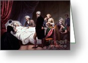 1732 Greeting Cards - George Washington On His Death Bed Greeting Card by Photo Researchers