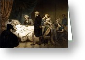 President Washington Greeting Cards - George Washington On His Deathbed Greeting Card by War Is Hell Store