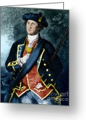 1732 Greeting Cards - George Washington, Virginia Colonel Greeting Card by Photo Researchers, Inc.
