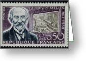 Postage Stamp Greeting Cards - Georges Melies (1861-1938) Greeting Card by Granger