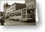 Wyoming Greeting Cards - Georgetown Trolley E Market St Wilkes Barre PA by City Hall mid 1900s Greeting Card by Arthur Miller