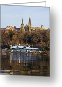 Washington D.c. Tapestries Textiles Greeting Cards - Georgetown University waterfront  Greeting Card by Brendan Reals