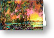 Ginette Fine Art Llc Ginette Callaway Greeting Cards - Georgia landscape Okefenokee Sunset  Greeting Card by Ginette Fine Art LLC Ginette Callaway