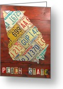 Transportation Mixed Media Greeting Cards - Georgia License Plate Map Greeting Card by Design Turnpike