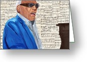 Ray Charles Greeting Cards - Georgia On My Mind Greeting Card by Michael Lee