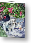 Watercolor By Irina Greeting Cards - Georgie Greeting Card by Irina Sztukowski