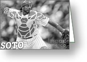 Wrigley Field Greeting Cards - Geovany Soto Greeting Card by David Bearden