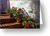 Impressionist Greeting Cards - Geranium Steps Greeting Card by David Lloyd Glover