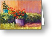 Garden Pots Greeting Cards - Geraniums and Adobe Greeting Card by Candy Mayer