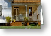 Clapboard Houses Greeting Cards - Geraniums on a Country Porch Greeting Card by Doug Strickland