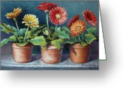 Floral Pastels Greeting Cards - Gerberas Three Greeting Card by Theresa Shelton