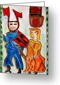 Knights Castle Painting Greeting Cards - German Castle Painting Greeting Card by Susan Stader