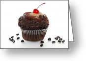Chocolate Fudge Greeting Cards - German Chocolate Cupcake Greeting Card by Andee Photography