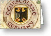 Gold Painting Greeting Cards - German Coat of Arms Greeting Card by Debbie DeWitt