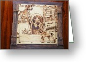 Dog Art Pyrography Greeting Cards - German pointer -fine art pyrography on birch wood plaque Greeting Card by Egri George-Christian