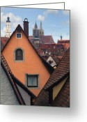 Architecture Greeting Cards - German Rooftops Greeting Card by Sharon Foster