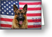 Usa Flag Greeting Cards - German Shepherd - U.S.A. Greeting Card by Sandy Keeton