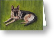 Animal Portrait Pastels Greeting Cards - German Shepherd Greeting Card by Anastasiya Malakhova