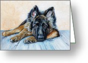 Fine Art - Animals Greeting Cards - German Shepherd Greeting Card by Enzie Shahmiri