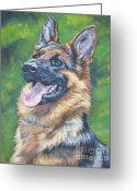 Shepherd Painting Greeting Cards - German Shepherd Head Study Greeting Card by Lee Ann Shepard