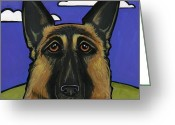Alsatian Greeting Cards - German Shepherd Greeting Card by Leanne Wilkes