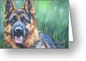 Alsatian Greeting Cards - German Shepherd Greeting Card by Lee Ann Shepard