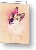 Animal Portrait Greeting Cards - German Shepherd Mix Dog Dressed As Ballerina Greeting Card by R. Nelson
