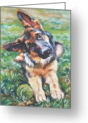 Alsatian Greeting Cards - German shepherd pup with ball Greeting Card by L A Shepard